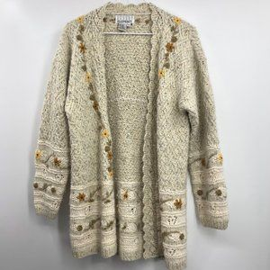 CASUAL ELEMENTS Floral Chunky Knit Sweater
